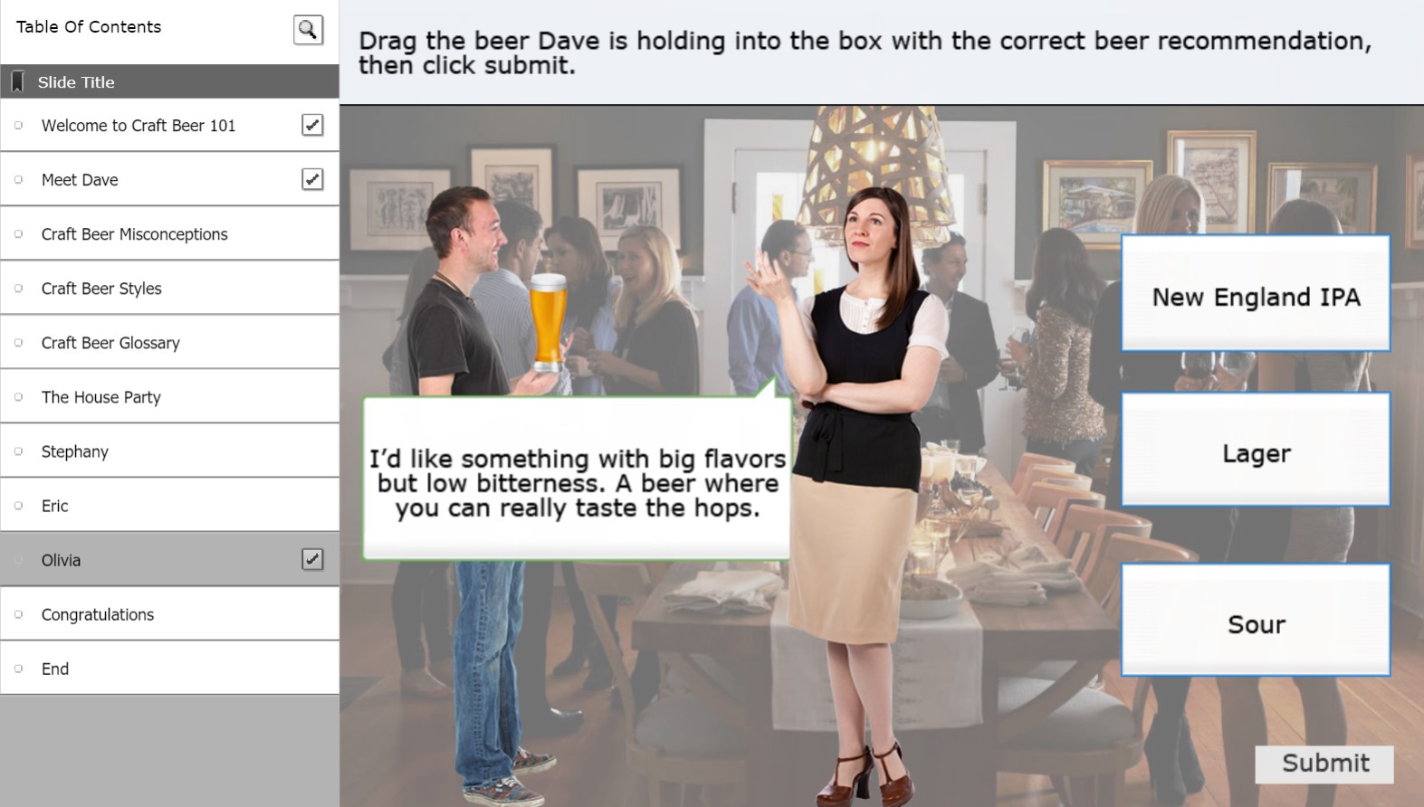 Screenshot of craft beer learning object. Woman is asking man about New England IPAs