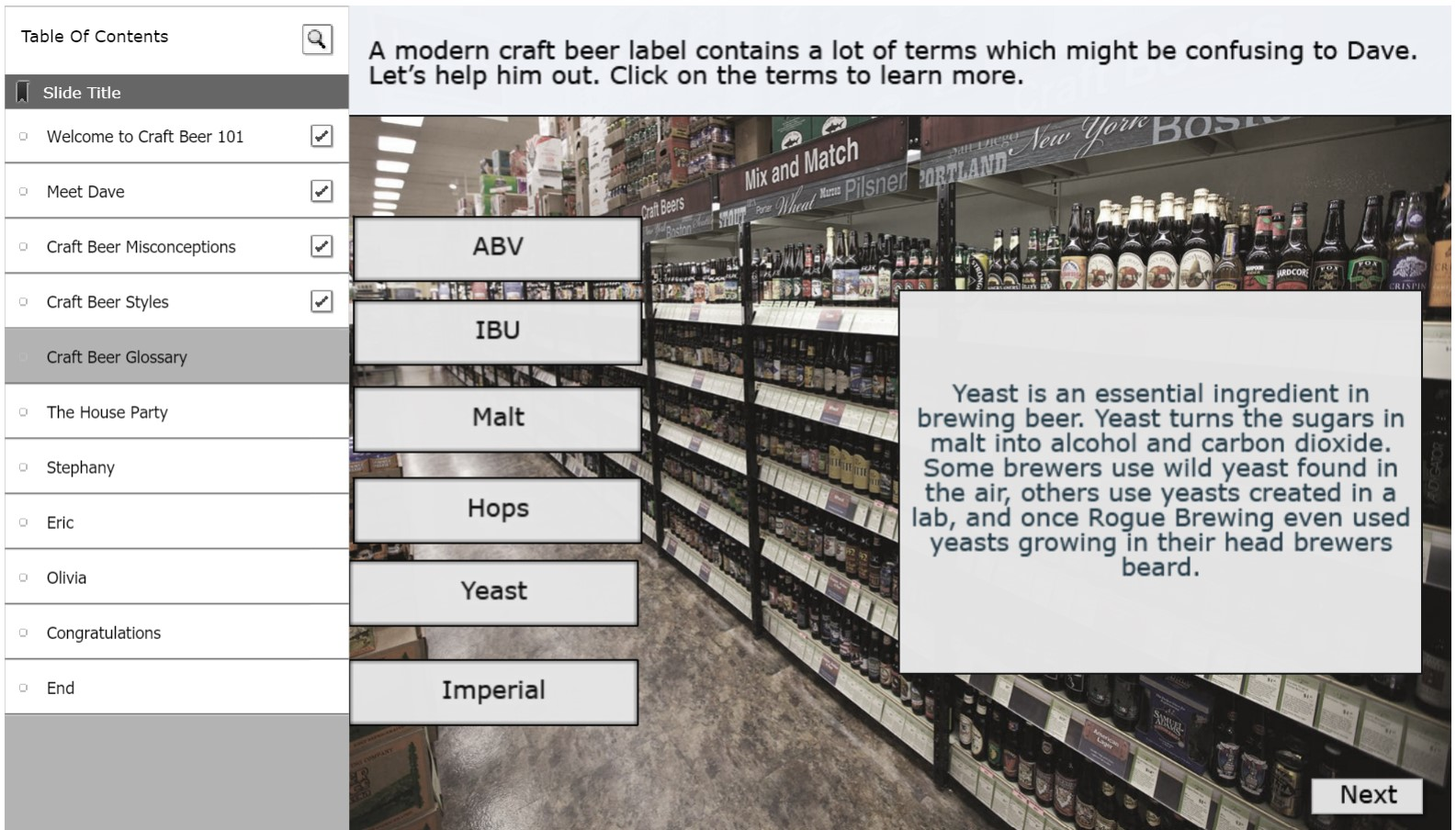 Image of craft beer learning assessment.